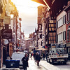 Dawn on the streets of Strasbourg. Street photography.