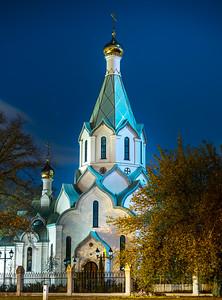 Russian orthodox church in Strasburg on blue sky night background