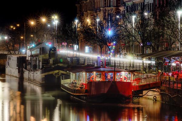 Night restaurants on big boats, river Ill in Strasbourg