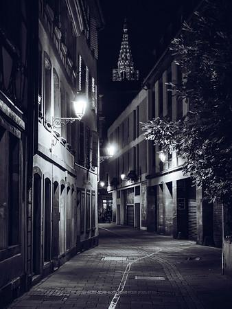 Night Strasbourg. Monochrome street view in the center.