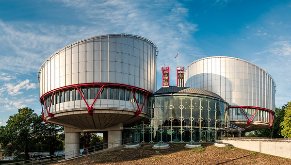 Panoramic view of the Court of Human Rights in Strasbourg