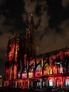 Laser lighting show on the walls of Cathedral Notre Dame de Strasbourg
