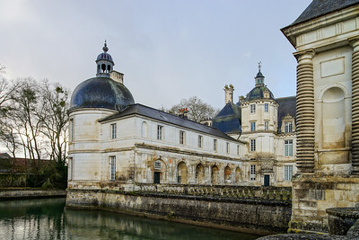 View of majestic french castle in Tanlay, Burgundy, France