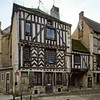 Ancient medieval timber-framed house in old french village Noyers