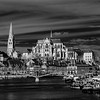 Abbey Saint-Germain in Auxerre, landscape infrared view, France