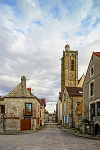 Catholic church in Noyers, Burgundy, France, street view