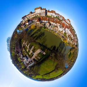 Little-planet spherical panoramic view of Pesmes village in Burgundy