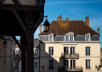 The central square and the cathedral of the beautiful city of Auxonne in Burgundy