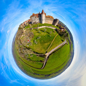 Little-planet spherical panoramic view of Chateau-Neuf village in Burgundy