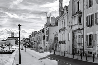 Sun shining in Auxerre, infrared street view of old city