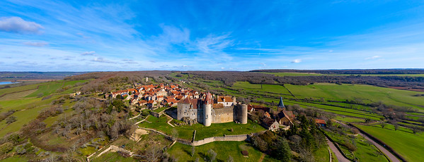 Aerial drone  panoramic view of Chateau-Neuf village in Burgundy