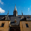 Beautiful ancient architecture of Burgundy. Streets of the city of Beaune. Sunny spring day. Advertising tourist types.