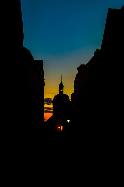Old church silhouette on blue sky background, Vezelay, France