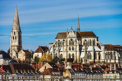 Abbey Saint-Germain in Auxerre, landscape view, France