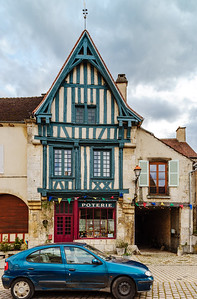 Editorial: 8th March 2018: Noyers, France. Street view, sunny day