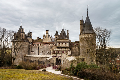Old medieval Rochepot castle in Burgundy, spring day