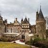 Old medieval Rochepot castle in Burgundy, spring day