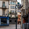 Editorial: 27th October 2019: Rennes, France. Cold deserted streets of Rennes in Brittany