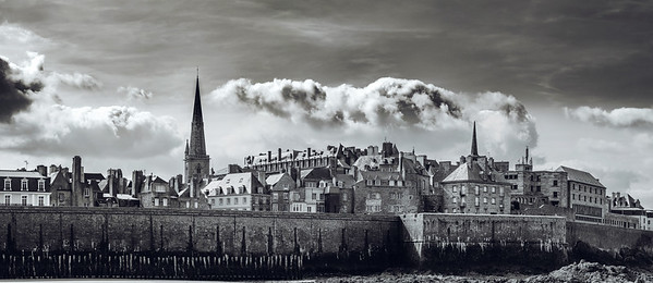 Contrast panoramic view of old pirate city Saint-Malo, France