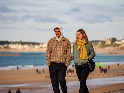 Editorial: 27th October 2019. Saint-Malo, France. People stroll along the autumn promenade of Saint-Malo in Brittany.