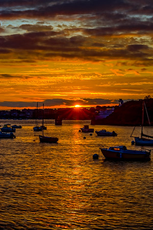 Beautiful orange sunset on the seaside in Brittany