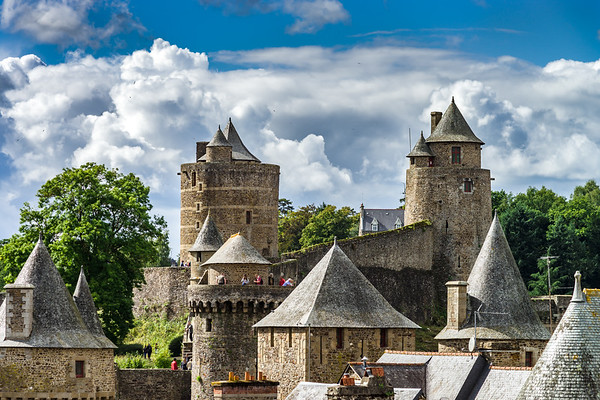 Fougeres castle in Bretagne, France, sunny day