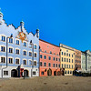 The central square of the town of Burghausen Germany. Sunny day. Amazing colorful houses.