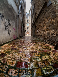 Editorial: 28th October 2019: St-Malo, France. Wet after autumn rain, the streets of Saint-Malo in Brittany. There are no people on the streets, cold, harsh autumn.