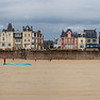 Panoramic view of the city of Saint-Malo from the beach at low tide. A high resolution.