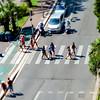 Pedestrian zebra across the street. Tilt shift view.