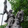Janna d'Ark on the horse, metal sculpture