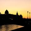 Night Paris. Quay of Seine. France.