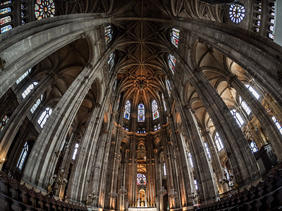 Church of St Eustache, Paris. Majestic interior view created by fisheye lens with wide angle.