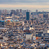 Editorial: 25th October 2019: Paris, France. View of Paris at sunset from Sacre Coeur