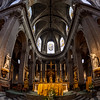 Church of Saint-Sulpice, Paris. Majestic interior view created by fisheye lens with wide angle.