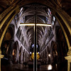 Church of Saint-Séverin. Paris. Majestic interior view created by fisheye lens with wide angle.