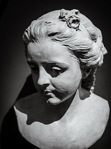 Classic bust, sculptural image of a man's head. Museums of the world.