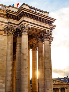 Pantheon building in Paris on a sunny day, sunset time