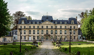 Classic french castle in Paris region, touristic landmark