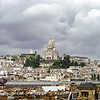 Sacre-Coeur bird-fle view at stormy weather day, Paris