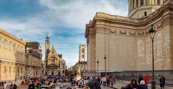 Editorial: 26th October 2019: Paris, France. Square near the Pantheon in Paris a lot of people, autumn