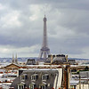 Paris overview from Pompidou center roof, stormy weather