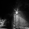 Carcassonne medieval city street night view in black and white