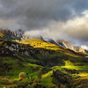 Wide panotamic view of Pyrenees on sunrise, calm place