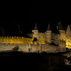 Highlighted Carcassonne medieval fortress night panoramic view