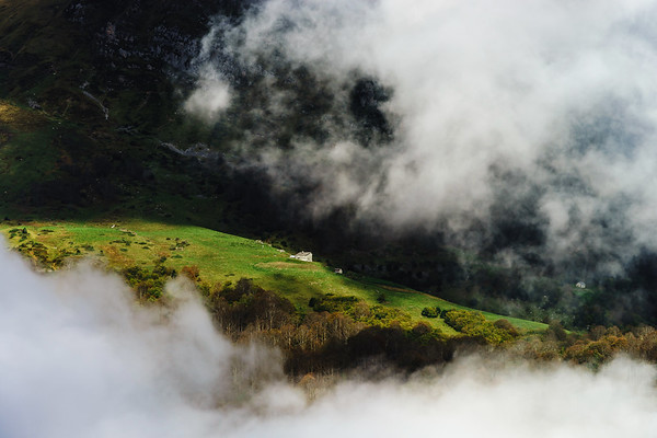 Over the clouds in high mountains, Pyrenees, foggy and cloudy