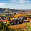 Colorful landscape aerial view of little village Kappelrodeck in Black Forest mountains. Beautiful medieval castle Burg Rodeck.