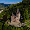 Aerial view of old feudal castle Burg Rodech