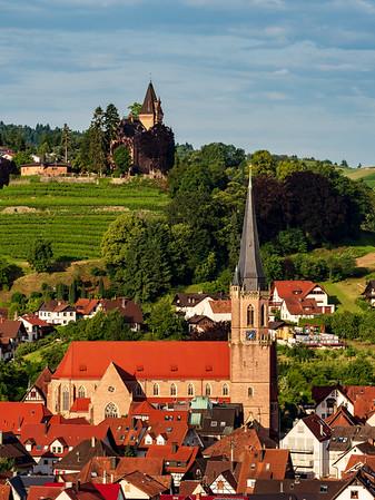 Colorful landscape view of little village Kappelrodeck