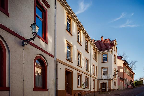 Cityscape of Baden-Baden, sunny february day, streetview